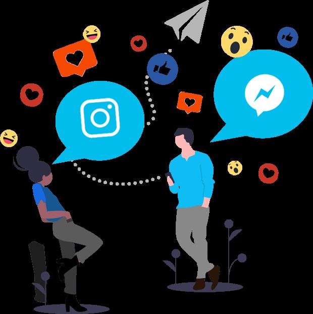 ilustração com pessoas e icones de redes sociais