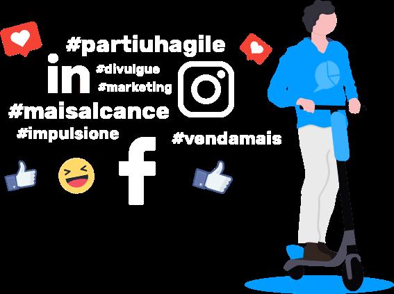 Figura ilustrativa de um homem andando de patins com icones de redes sociais ao redor